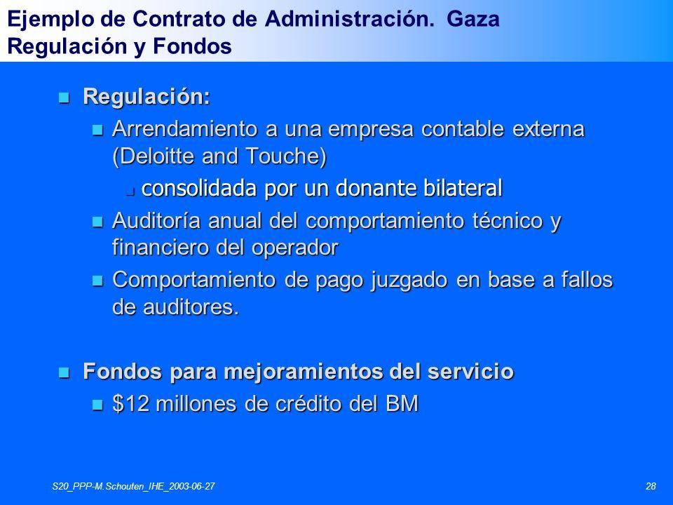 S20_PPP-M.Schouten_IHE_2003-06-2728 n Regulación: n Arrendamiento a una empresa contable externa (Deloitte and Touche) n consolidada por un donante bi