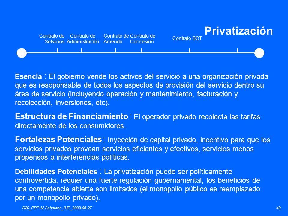 S20_PPP-M.Schouten_IHE_2003-06-2740 Esencia : El gobierno vende los activos del servicio a una organización privada que es resoponsable de todos los a