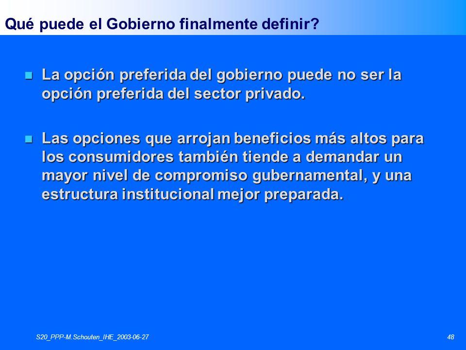 S20_PPP-M.Schouten_IHE_2003-06-2748 n La opción preferida del gobierno puede no ser la opción preferida del sector privado. n Las opciones que arrojan