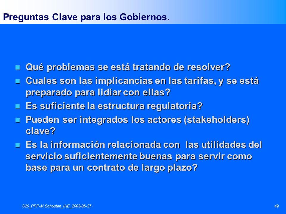 S20_PPP-M.Schouten_IHE_2003-06-2749 Preguntas Clave para los Gobiernos. n Qué problemas se está tratando de resolver? n Cuales son las implicancias en