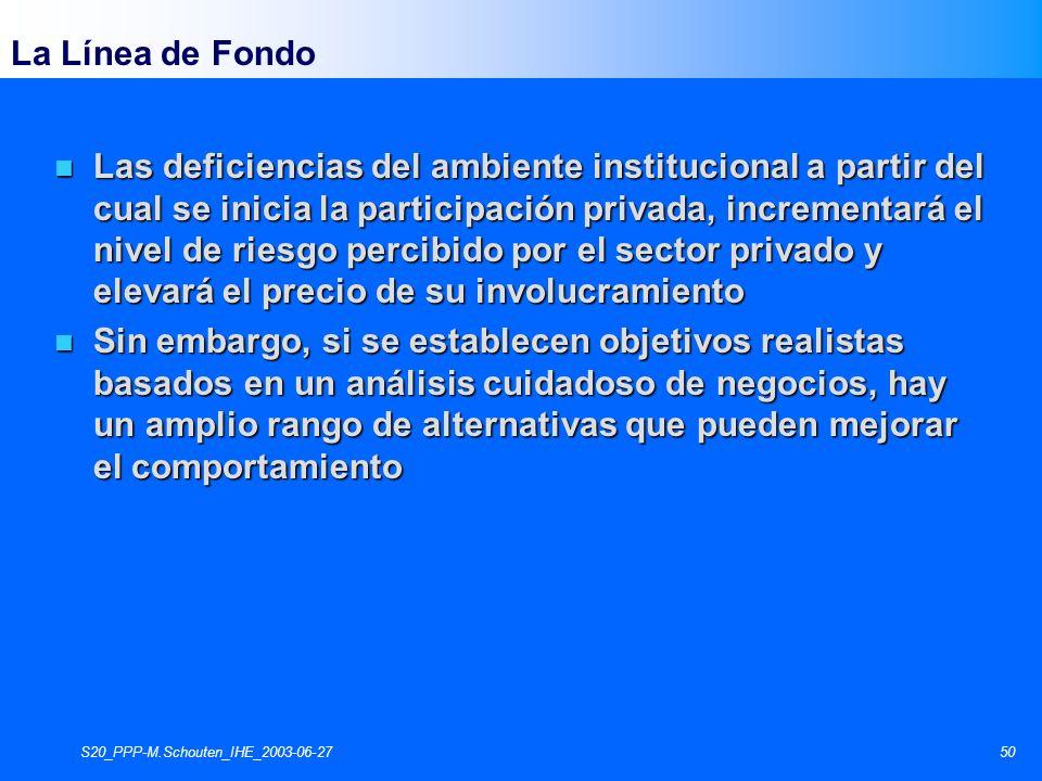 S20_PPP-M.Schouten_IHE_2003-06-2750 La Línea de Fondo n Las deficiencias del ambiente institucional a partir del cual se inicia la participación priva