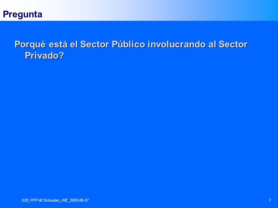 S20_PPP-M.Schouten_IHE_2003-06-278 El punto de inicio para el involucramiento del sector privado (1) Problemas con la Prestación de Servicios Públicos
