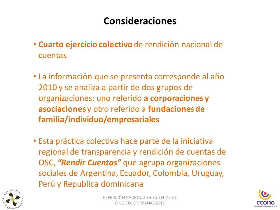 Consideraciones RENDICIÓN NACIONAL DE CUENTAS DE ONG COLOMBIANAS 2011 Cuarto ejercicio colectivo de rendición nacional de cuentas La información que s