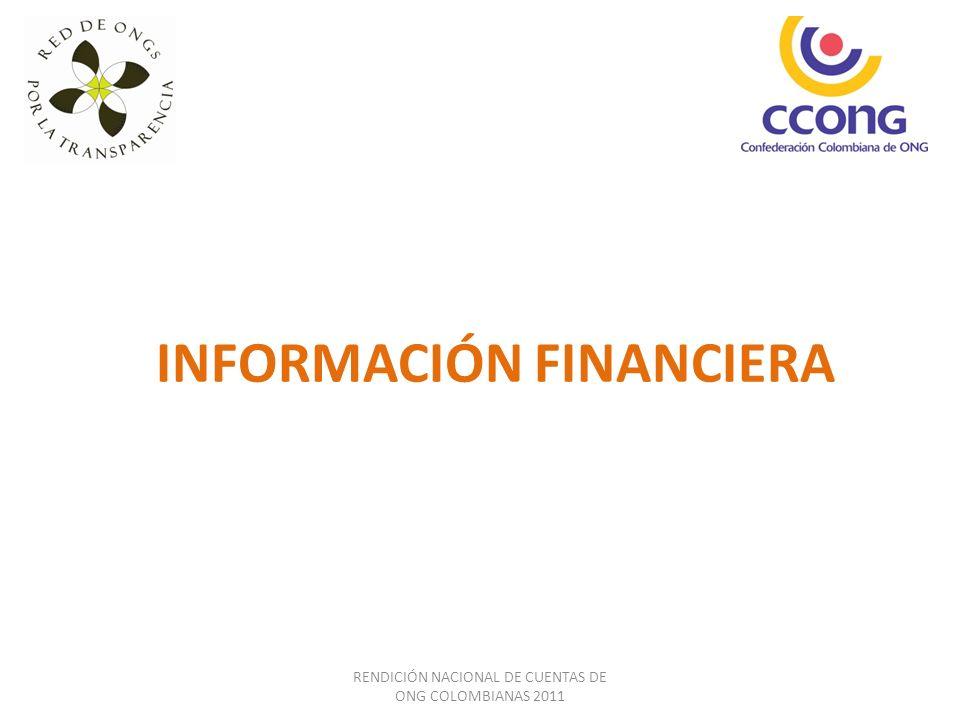 INFORMACIÓN FINANCIERA RENDICIÓN NACIONAL DE CUENTAS DE ONG COLOMBIANAS 2011
