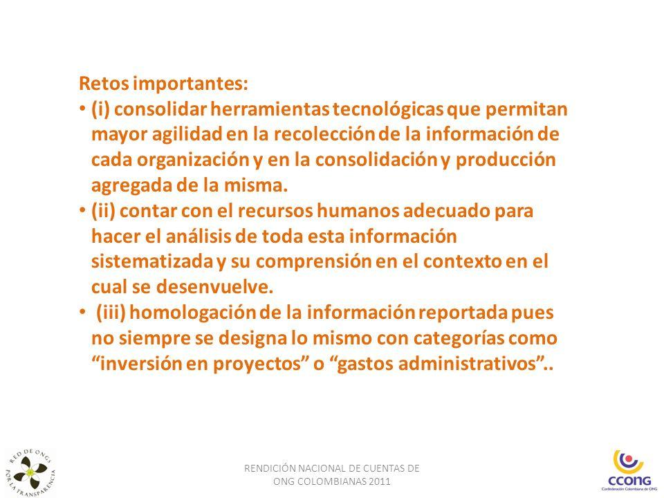 RENDICIÓN NACIONAL DE CUENTAS DE ONG COLOMBIANAS 2011 Retos importantes: (i) consolidar herramientas tecnológicas que permitan mayor agilidad en la re