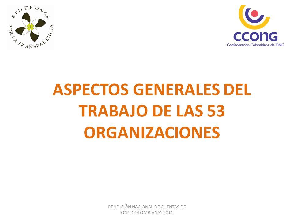 RENDICIÓN NACIONAL DE CUENTAS DE ONG COLOMBIANAS 2011 Retos importantes: (i) consolidar herramientas tecnológicas que permitan mayor agilidad en la recolección de la información de cada organización y en la consolidación y producción agregada de la misma.