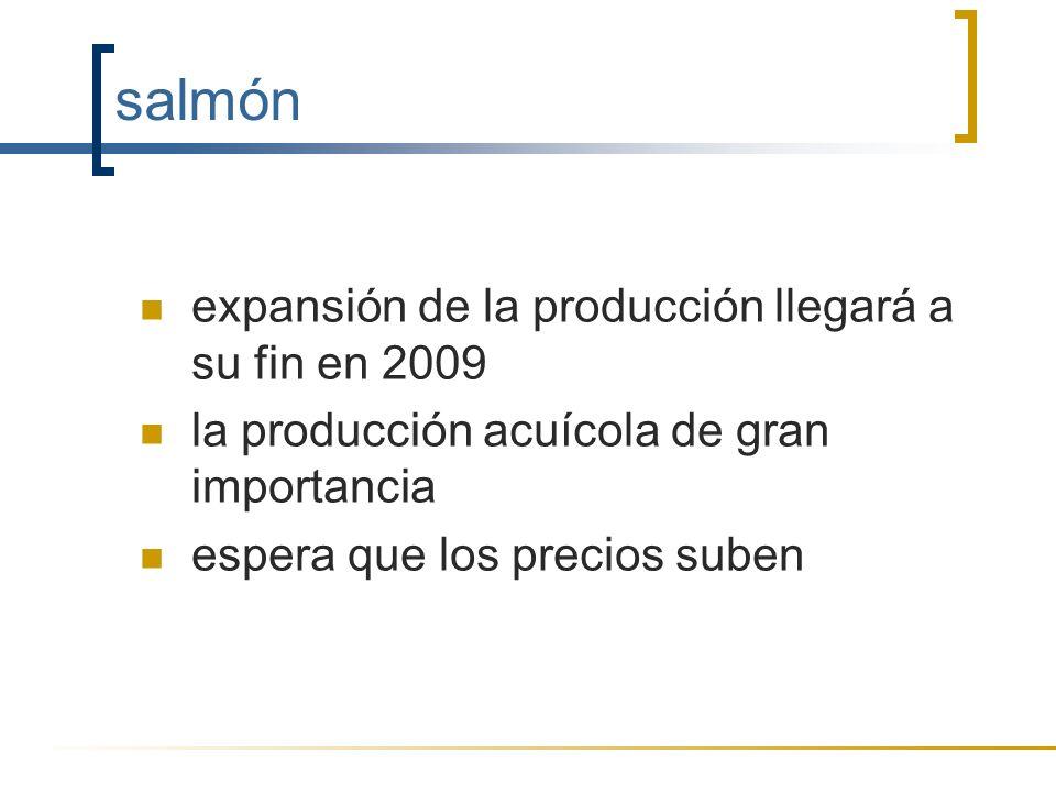 salmón expansión de la producción llegará a su fin en 2009 la producción acuícola de gran importancia espera que los precios suben