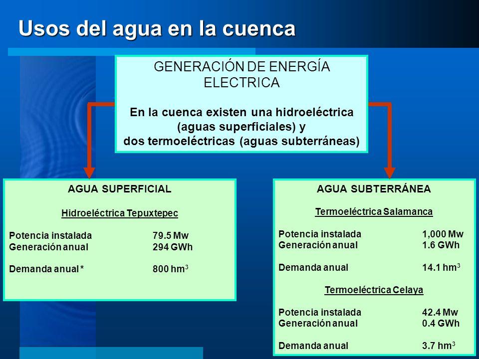 AGUA SUPERFICIAL Hidroeléctrica Tepuxtepec Potencia instalada79.5 Mw Generación anual294 GWh Demanda anual *800 hm 3 AGUA SUBTERRÁNEA Termoeléctrica S