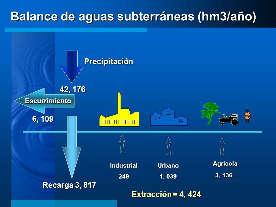 Industrial249Urbano 1, 039 Agrícola Agrícola 3, 136 Precipitación Recarga 3, 817 Escurrimiento 42, 176 Extracción = 4, 424 6, 109 Balance de aguas sub
