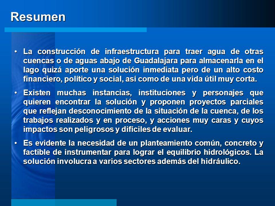 La construcción de infraestructura para traer agua de otras cuencas o de aguas abajo de Guadalajara para almacenarla en el lago quizá aporte una soluc