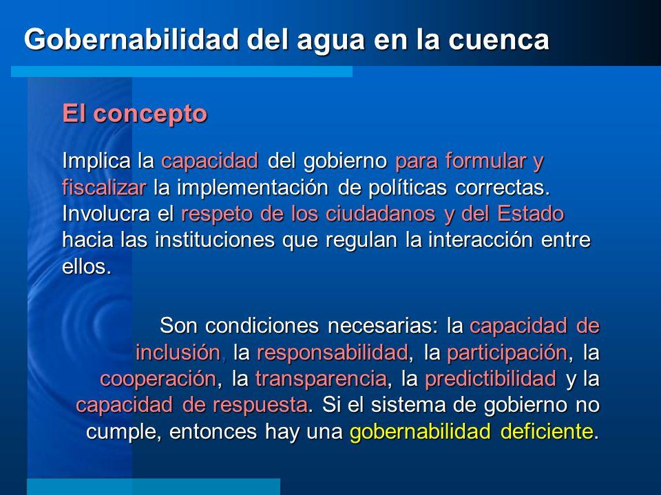 El concepto Implica la capacidad del gobierno para formular y fiscalizar la implementación de políticas correctas. Involucra el respeto de los ciudada