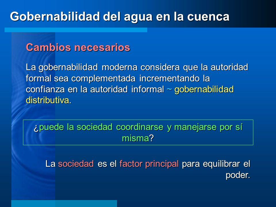 Cambios necesarios La gobernabilidad moderna considera que la autoridad formal sea complementada incrementando la confianza en la autoridad informal ~