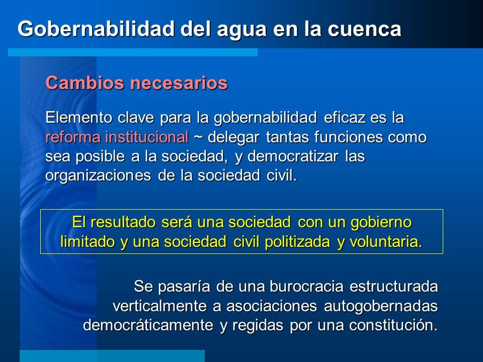Cambios necesarios Elemento clave para la gobernabilidad eficaz es la reforma institucional ~ delegar tantas funciones como sea posible a la sociedad,