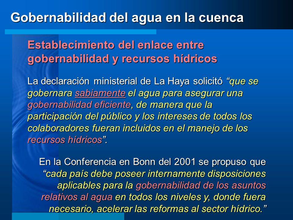 Establecimiento del enlace entre gobernabilidad y recursos hídricos La declaración ministerial de La Haya solicitó que se gobernara sabiamente el agua