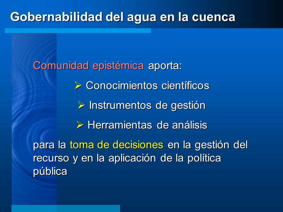 Comunidad epistémica aporta: Conocimientos científicos Conocimientos científicos Instrumentos de gestión Instrumentos de gestión Herramientas de análi