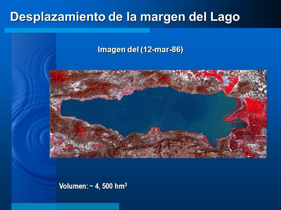 Volumen: ~ 4, 500 hm 3 Desplazamiento de la margen del Lago Imagen del (12-mar-86)