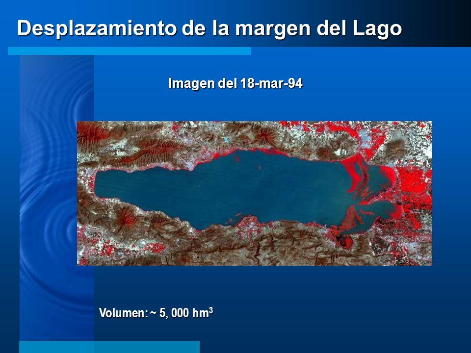 Volumen: ~ 5, 000 hm 3 Desplazamiento de la margen del Lago Imagen del 18-mar-94