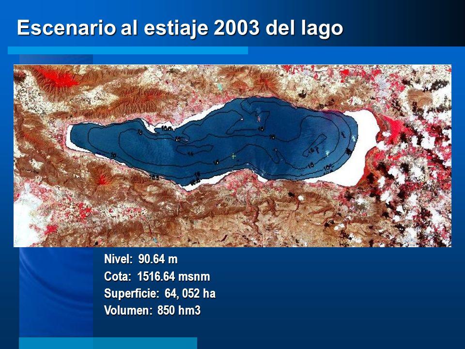 Escenario al estiaje 2003 del lago Nivel: 90.64 m Cota: 1516.64 msnm Superficie: 64, 052 ha Volumen: 850 hm3