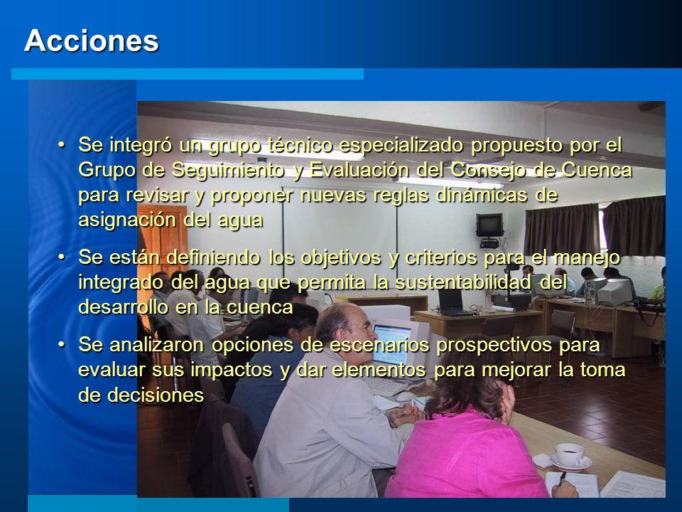 Acciones Se integró un grupo técnico especializado propuesto por el Grupo de Seguimiento y Evaluación del Consejo de Cuenca para revisar y proponer nu