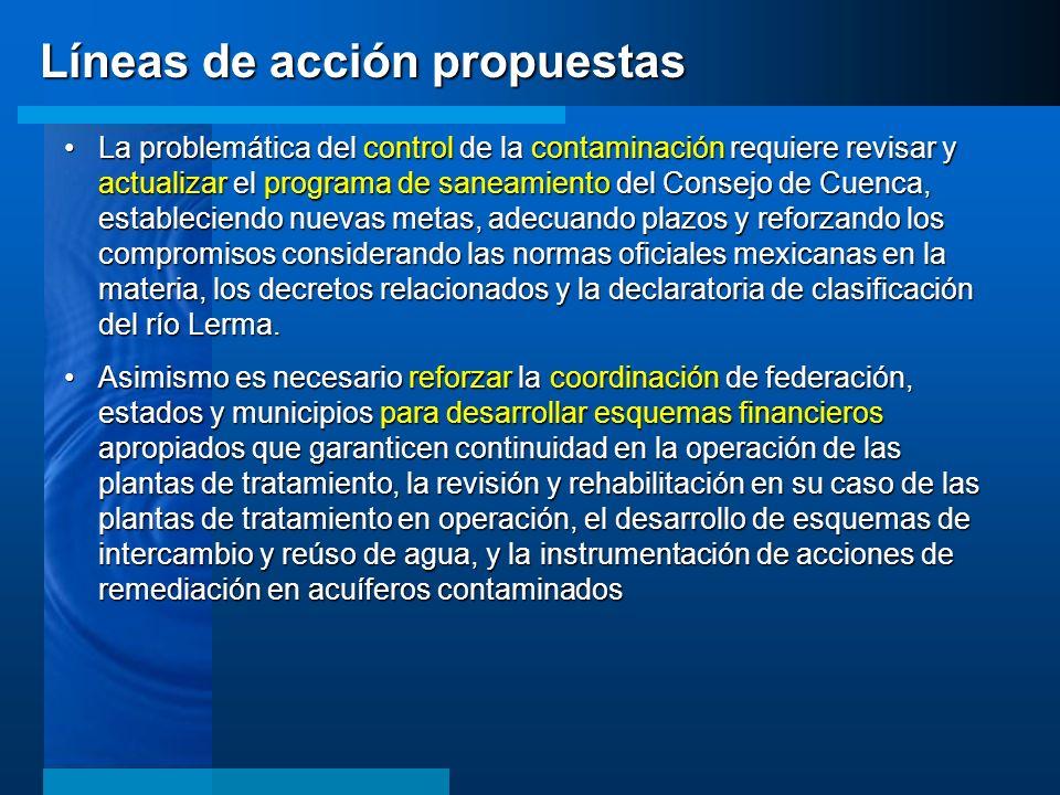 Líneas de acción propuestas La problemática del control de la contaminación requiere revisar y actualizar el programa de saneamiento del Consejo de Cu