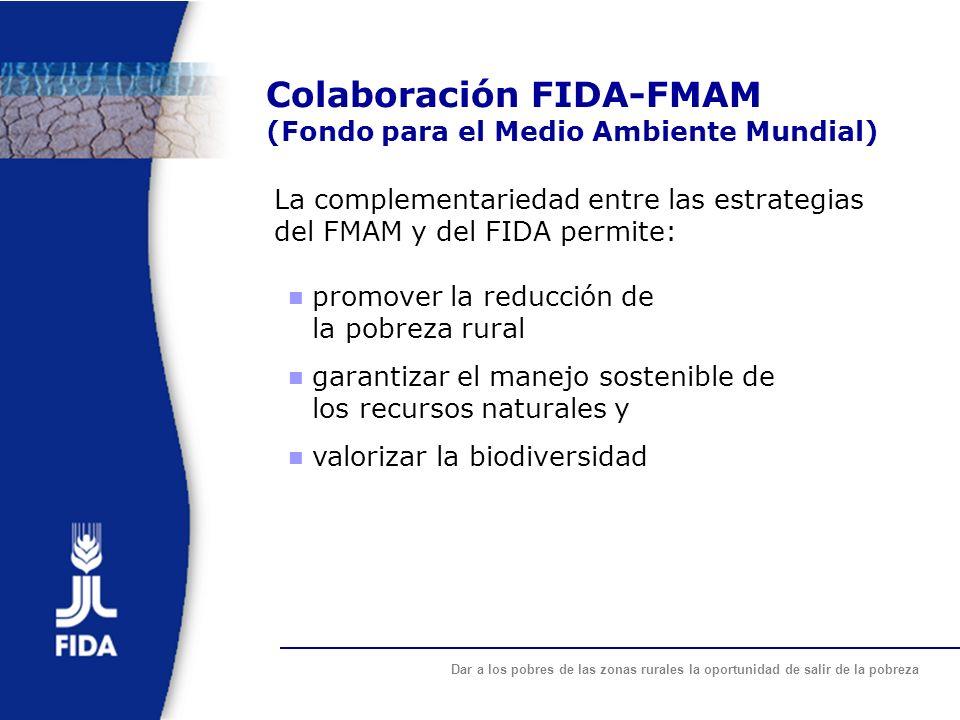 Dar a los pobres de las zonas rurales la oportunidad de salir de la pobreza Colaboración FIDA-FMAM (Fondo para el Medio Ambiente Mundial) La complemen