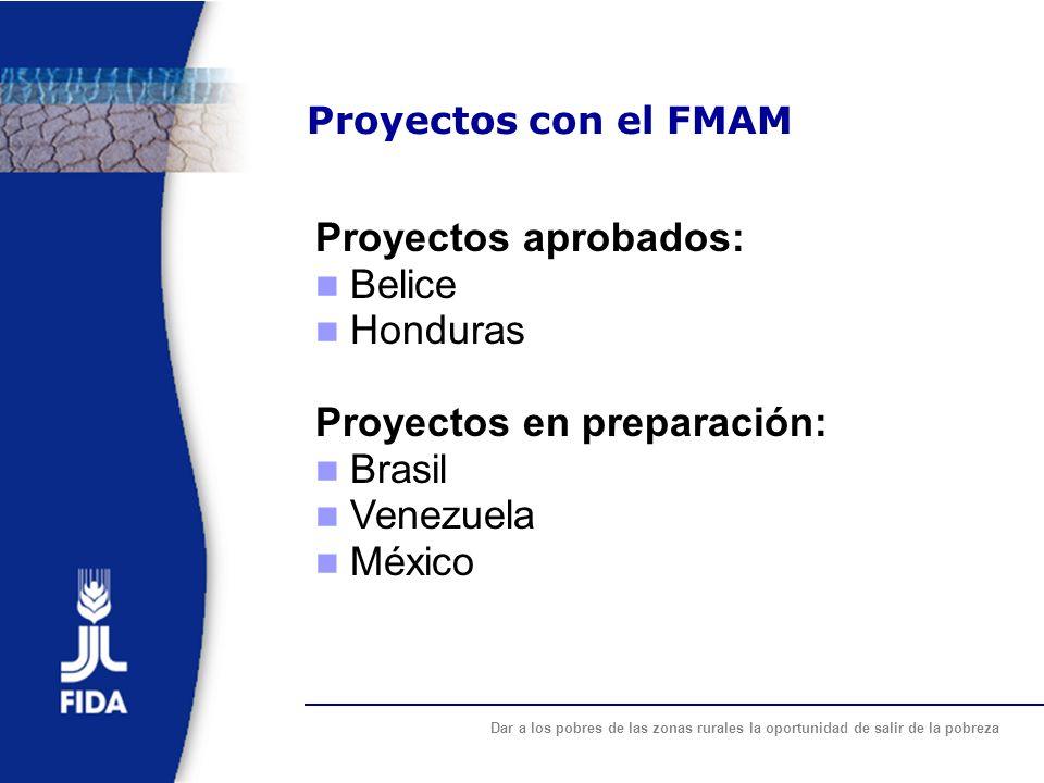 Dar a los pobres de las zonas rurales la oportunidad de salir de la pobreza Proyectos con el FMAM Proyectos aprobados: Belice Honduras Proyectos en pr