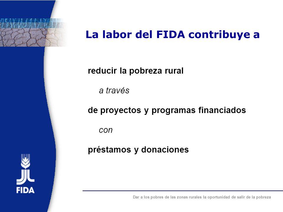 Dar a los pobres de las zonas rurales la oportunidad de salir de la pobreza Colaboración FIDA-FMAM (Fondo para el Medio Ambiente Mundial) La complementariedad entre las estrategias del FMAM y del FIDA permite: promover la reducción de la pobreza rural garantizar el manejo sostenible de los recursos naturales y valorizar la biodiversidad