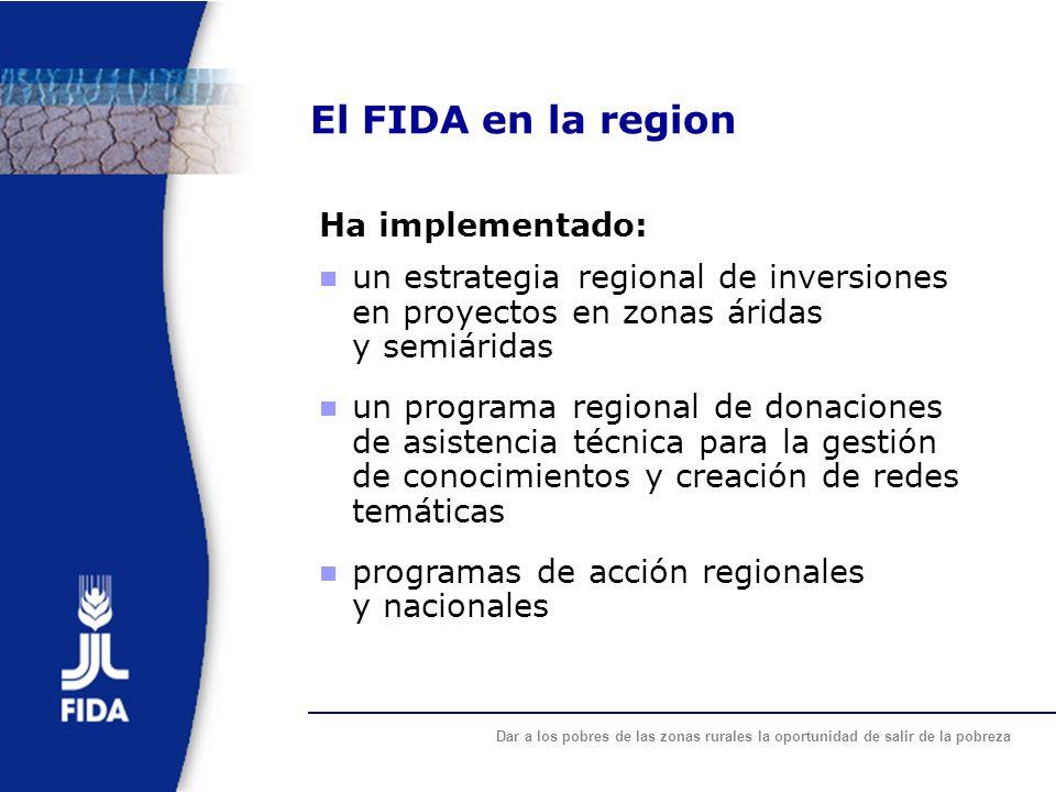 Dar a los pobres de las zonas rurales la oportunidad de salir de la pobreza El FIDA en la region Ha implementado: un estrategia regional de inversione