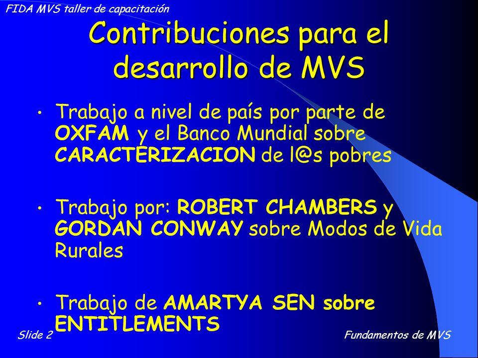 Contribuciones para el desarrollo de MVS Trabajo a nivel de país por parte de OXFAM y el Banco Mundial sobre CARACTERIZACION de l@s pobres Trabajo por