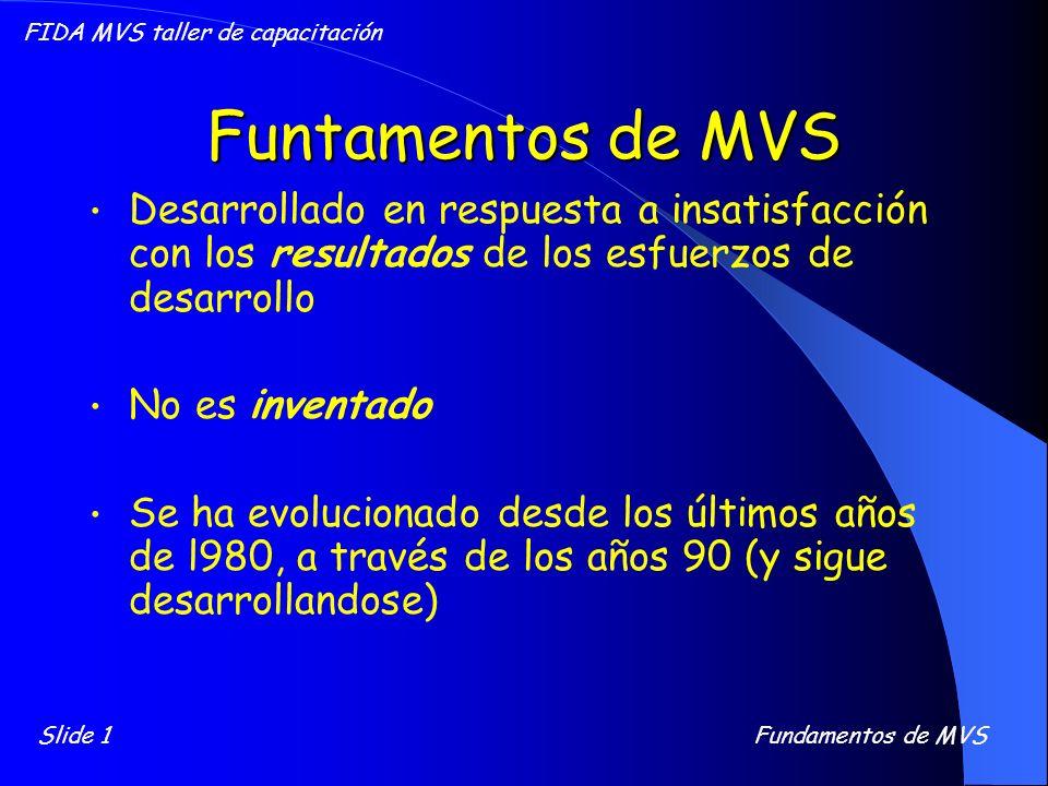 Funtamentos de MVS Desarrollado en respuesta a insatisfacción con los resultados de los esfuerzos de desarrollo No es inventado Se ha evolucionado des