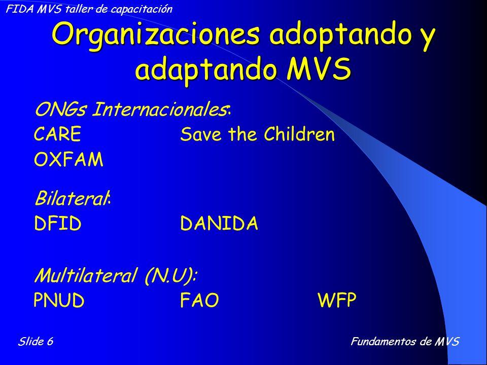 Organizaciones adoptando y adaptando MVS ONGs Internacionales: CARESave the Children OXFAM Bilateral: DFIDDANIDA Multilateral (N.U): PNUDFAO WFP Slide