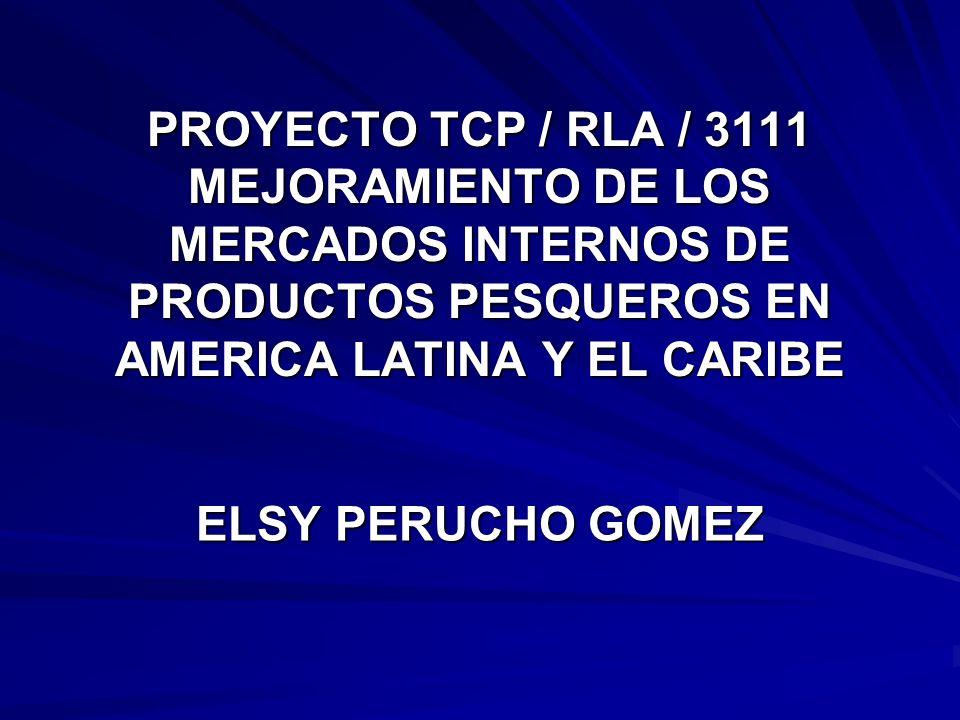 PROYECTO TCP / RLA / 3111 MEJORAMIENTO DE LOS MERCADOS INTERNOS DE PRODUCTOS PESQUEROS EN AMERICA LATINA Y EL CARIBE ELSY PERUCHO GOMEZ