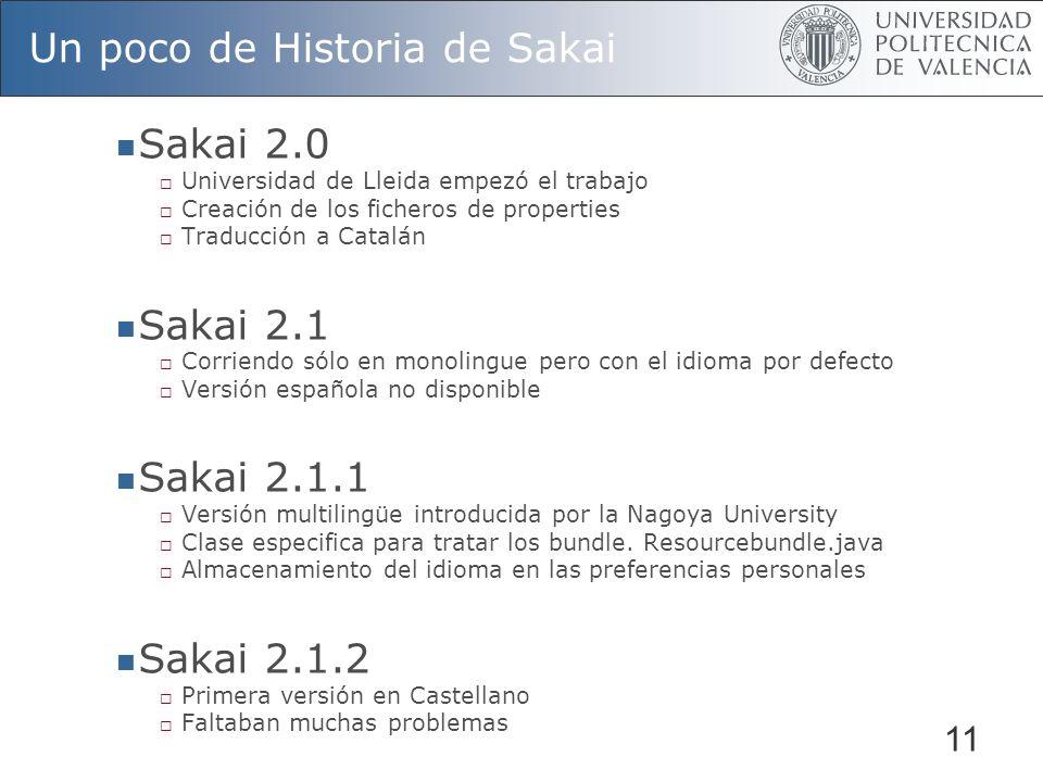 11 Un poco de Historia de Sakai Sakai 2.0 Universidad de Lleida empezó el trabajo Creación de los ficheros de properties Traducción a Catalán Sakai 2.1 Corriendo sólo en monolingue pero con el idioma por defecto Versión española no disponible Sakai 2.1.1 Versión multilingüe introducida por la Nagoya University Clase especifica para tratar los bundle.