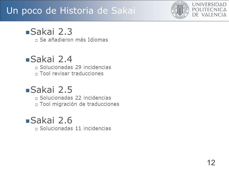 12 Un poco de Historia de Sakai Sakai 2.3 Se añadieron más Idiomas Sakai 2.4 Solucionadas 29 incidencias Tool revisar traducciones Sakai 2.5 Solucionadas 22 incidencias Tool migración de traducciones Sakai 2.6 Solucionadas 11 incidencias