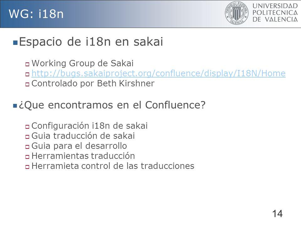 14 WG: i18n Espacio de i18n en sakai Working Group de Sakai http://bugs.sakaiproject.org/confluence/display/I18N/Home Controlado por Beth Kirshner ¿Que encontramos en el Confluence.