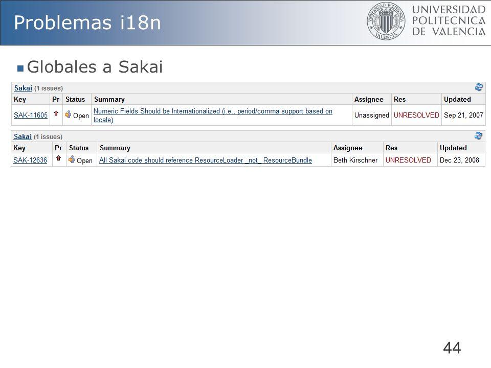 44 Problemas i18n Globales a Sakai