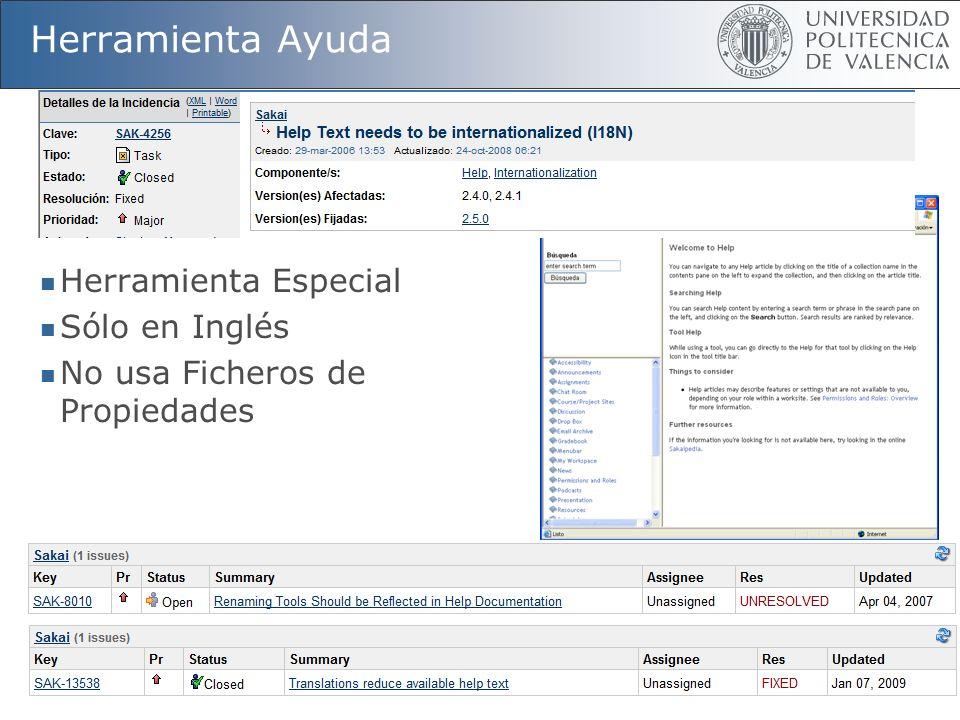50 Herramienta Ayuda Herramienta Especial Sólo en Inglés No usa Ficheros de Propiedades