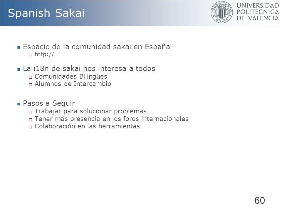 60 Spanish Sakai Espacio de la comunidad sakai en España http:// La i18n de sakai nos interesa a todos Comunidades Bilingües Alumnos de Intercambio Pasos a Seguir Trabajar para solucionar problemas Tener más presencia en los foros internacionales Colaboración en las herramientas