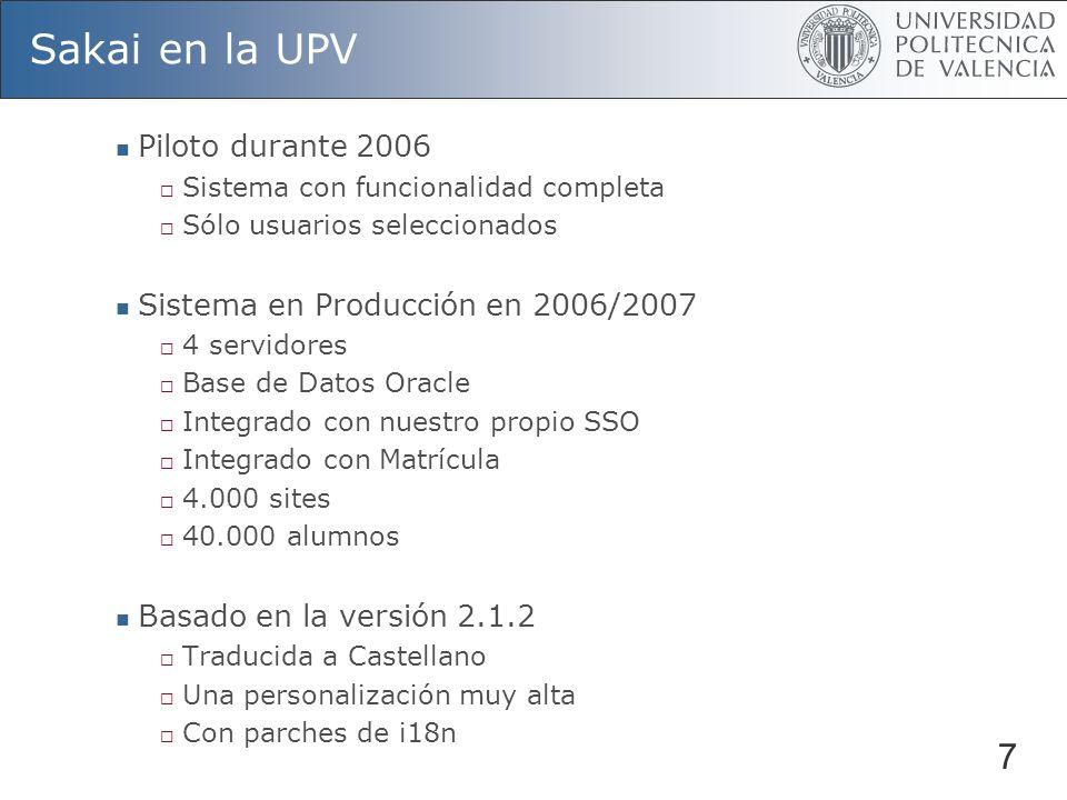 Sakai en la UPV Piloto durante 2006 Sistema con funcionalidad completa Sólo usuarios seleccionados Sistema en Producción en 2006/2007 4 servidores Base de Datos Oracle Integrado con nuestro propio SSO Integrado con Matrícula 4.000 sites 40.000 alumnos Basado en la versión 2.1.2 Traducida a Castellano Una personalización muy alta Con parches de i18n 7