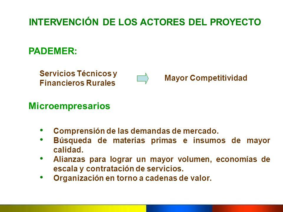 PADEMER: INTERVENCIÓN DE LOS ACTORES DEL PROYECTO Comprensión de las demandas de mercado. Búsqueda de materias primas e insumos de mayor calidad. Alia