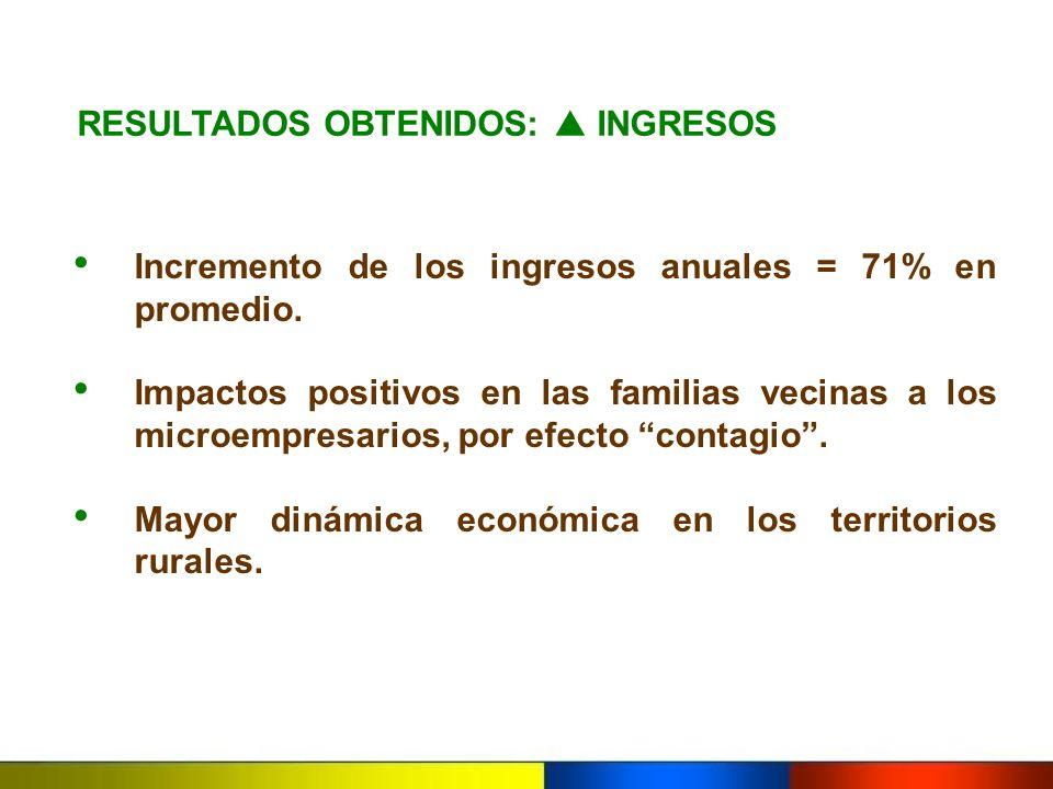 RESULTADOS OBTENIDOS: INGRESOS Incremento de los ingresos anuales = 71% en promedio. Impactos positivos en las familias vecinas a los microempresarios
