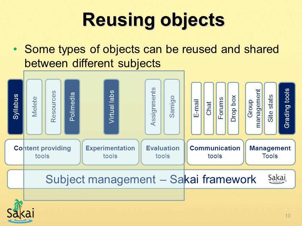 Content providing tools Subject management – Sakai framework Reusing objects Polimedia Evaluation tools Communication tools Experimentation tools Virt