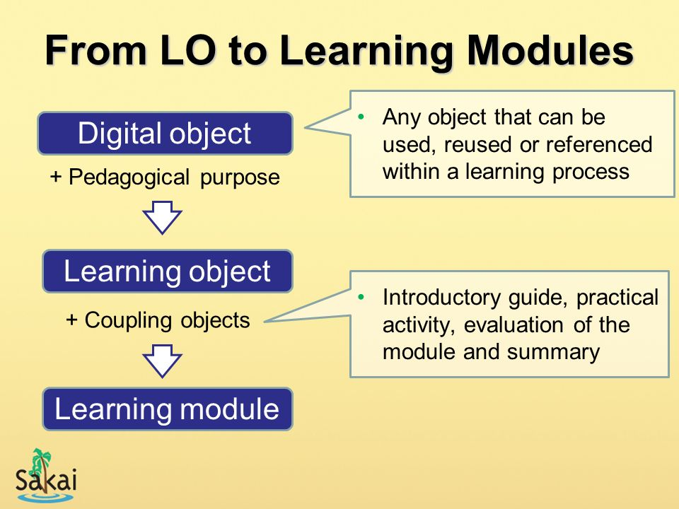 From LO to Learning Modules + Pedagogical purpose Digital object Learning object + Coupling objects Learning module Any object that can be used, reuse