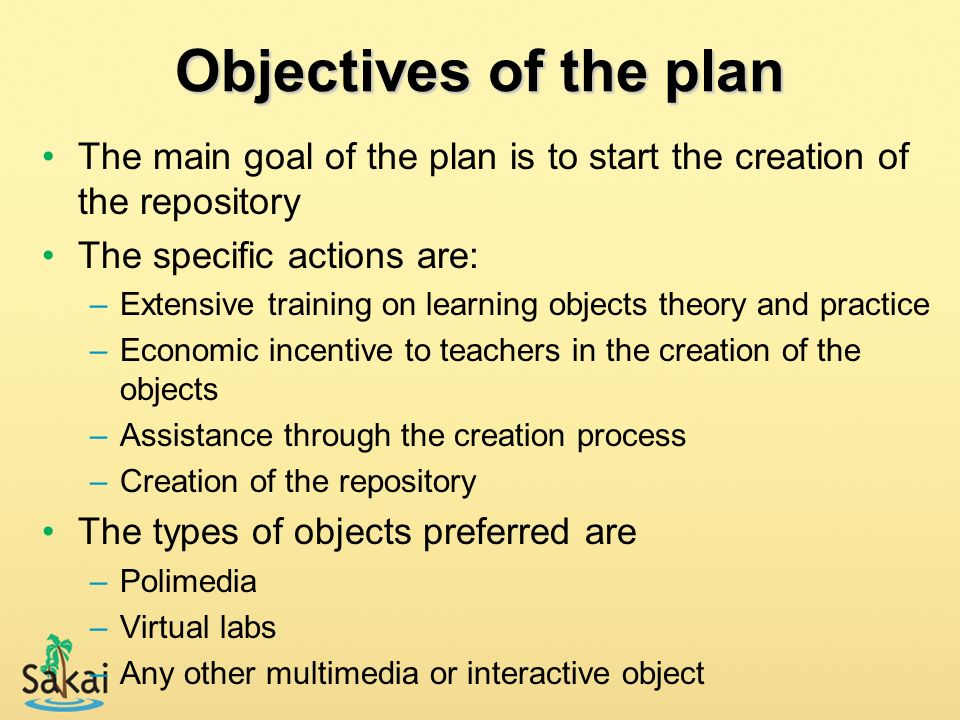Objectives of the plan The main goal of the plan is to start the creation of the repository The specific actions are: –Extensive training on learning