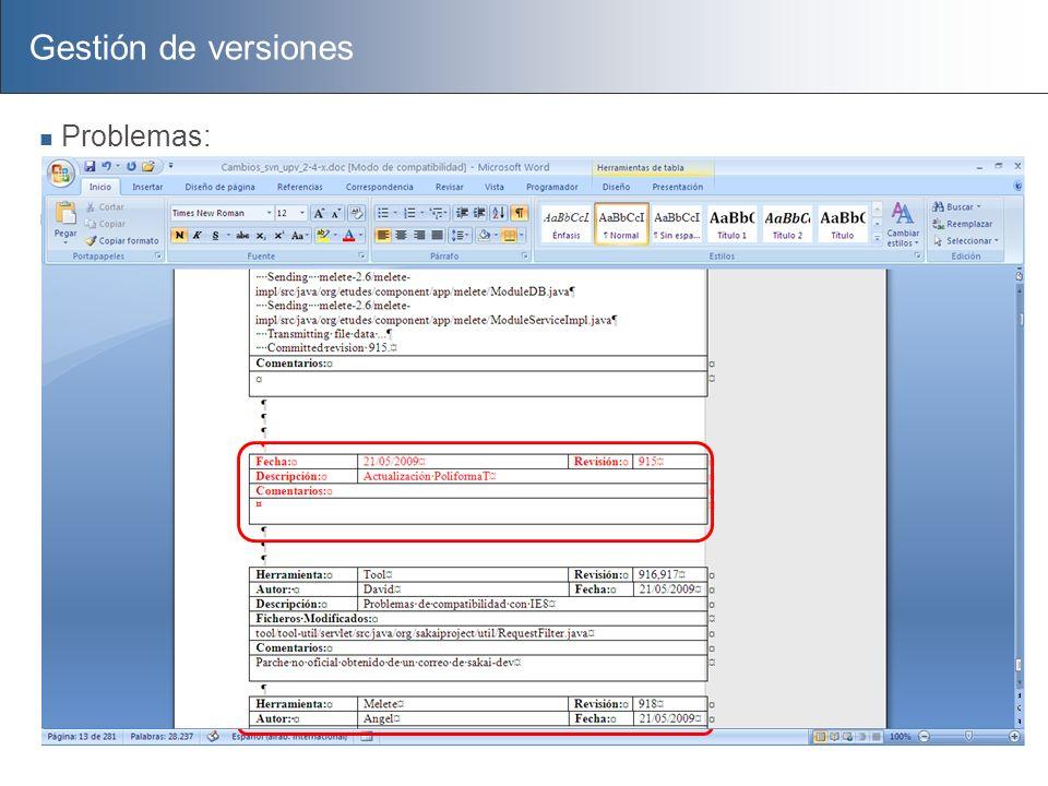 Gestión de versiones Problemas: Proceso complejo tendente a errores Documentación Cada cambio se registraba en un documento de word Las actualizacione