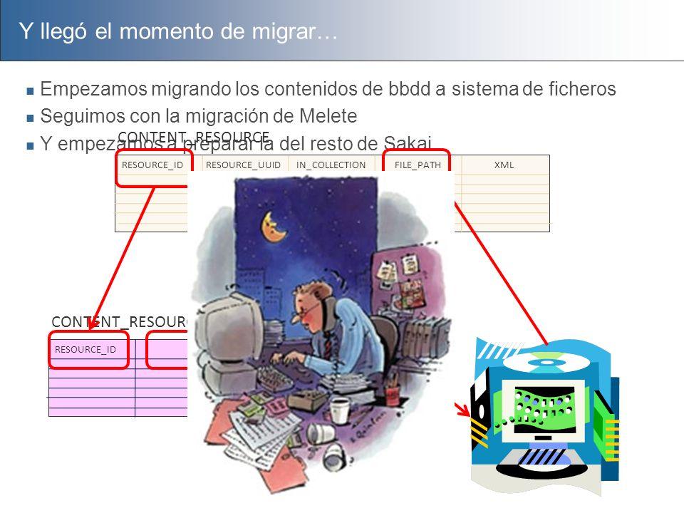 Y llegó el momento de migrar… Empezamos migrando los contenidos de bbdd a sistema de ficheros Seguimos con la migración de Melete Y empezamos a prepar