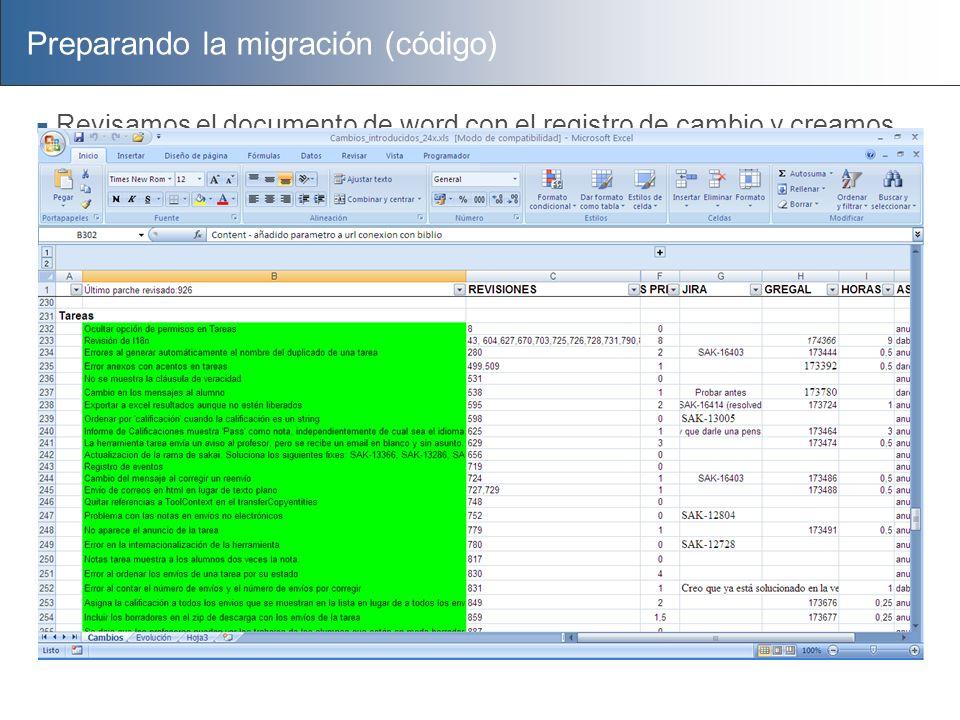 Preparando la migración (código) Revisamos el documento de word con el registro de cambio y creamos un excel para: Comprobar los cambios que había que