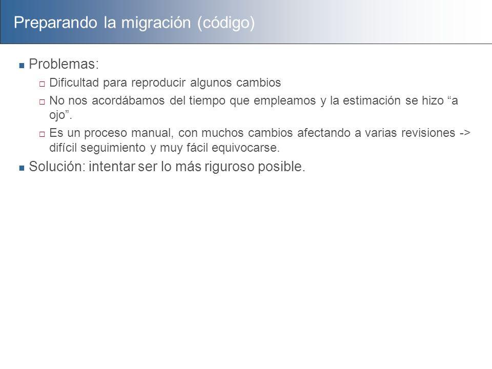 Preparando la migración (código) Problemas: Dificultad para reproducir algunos cambios No nos acordábamos del tiempo que empleamos y la estimación se