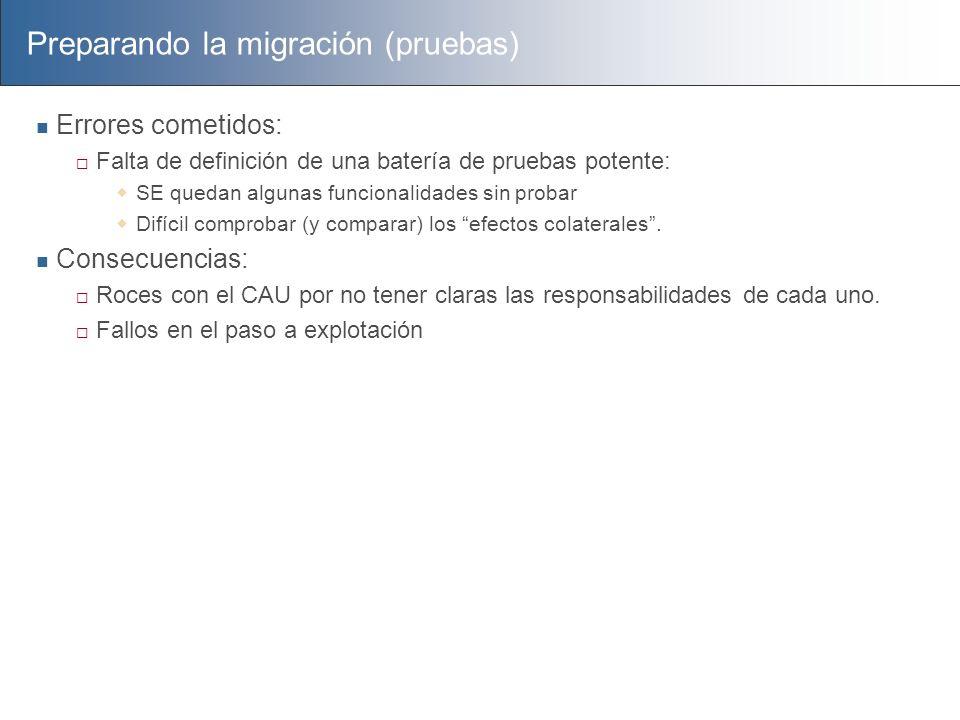 Preparando la migración (pruebas) Errores cometidos: Falta de definición de una batería de pruebas potente: SE quedan algunas funcionalidades sin prob