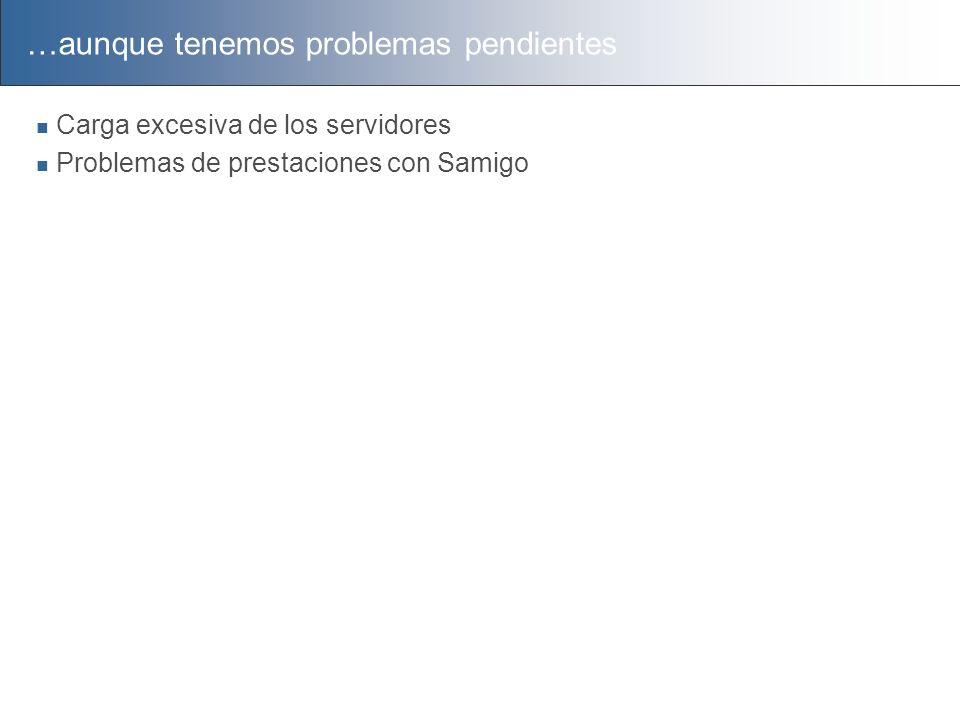 …aunque tenemos problemas pendientes Carga excesiva de los servidores Problemas de prestaciones con Samigo